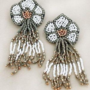 Jewelry - Boho Hippie Daisy Seed Bead Fringe Post Earrings